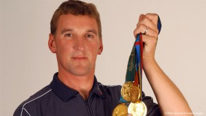 Sir Matthew Pinsent with his 4 Olympic Gold Medals. 1992.Barcelona, 1996. Atlanta. 2000.Sydney and 2004 Athens