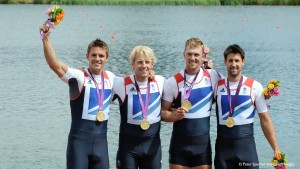 Alex Gregory, Peter Reed, Tom James and Andrew Triggs Hodge winning gold at London 2012.