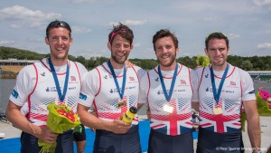 Poznan. Poland. GBR M4-, Gold medalist, left to right, Scott DURANT, Tom RANSLEY, Alan SINCLAIR and Nathaniel REILLY-O'DONNELL.